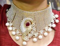 The Grand Bridal Collar Choker Necklace with American Diamonds,Emeralds(1gm Gold)-Indian Wedding Jewelry for Brides-Fashion Jewelry $255.00