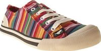 Rocket Dog Multi Jazzin Stripe Womens Flats Bring a little colour into your stride with the Jazzin Stripe plimsoll from Rocket Dog. The rainbow, multi-coloured canvas upper features frayed seams for a laid back look. A flexible rubber sole, bra http://www...
