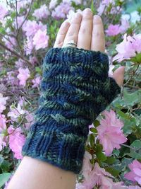 I lost the tag for the yarn that I made these from, but I remember the color way was called Audrey Hepburn, which inspired the name for these. These fingerless
