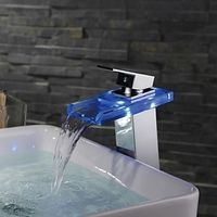 Contemporary Color Changing LED One Hole Waterfall Bathroom Sink Faucet