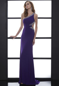 Sexy Long Purple Formal Dress with One Shoulder
