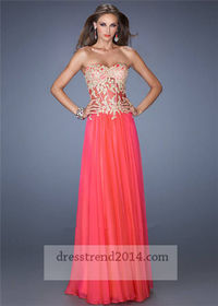 Embroidered Lace Gold Red Corset Long Prom Dress