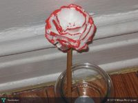 red and white egg carton flower-upcycled