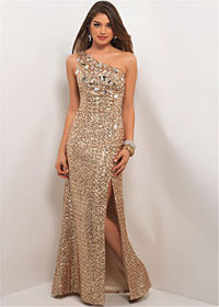 Shiny Light Gold One Shoulder Stone Beaded Blush 9534 Sparkly Mermaid Dress