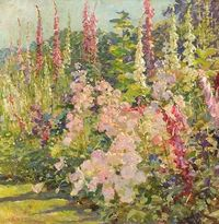 flower paintings, 19th century and paintings.