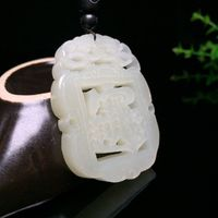 Natural Hotan Jade Amulet Pendant-Chinese Jade Necklace-Chinese Jade Jewelry-Hand Carved Necklace-Luck Jewelry