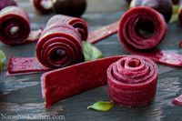Plum Fruit Leather - worked great except that I left the oven on too long and burned half my batch to a crisp! But recipe itself is great. :)