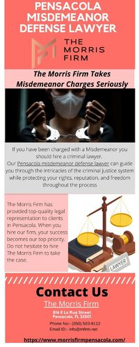 If your loved one has been arrested for a misdemeanor offence, do not hesitate to hire The Morris Firm to take the case. Our Pensacola misdemeanor defense lawyer can guide you through the intricacies of the criminal justice system while protecting your ri...