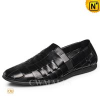 CWMALLS® Men Black Woven Leather Loafers CW716407