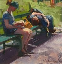 Using both traditional and non-traditional tools, she views her painting style as modern impressionism.