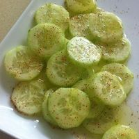 Cucumber Salad! Chop cucumber and add lemon juice, olive oil, salt and pepper and chile powder on top!
