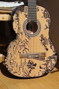 Marauders guitar! LOVE! This or a map of Middle Earth would be AWESOME!