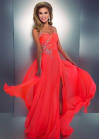 STUNNING Beaded Halter Prom Dress in Neon Coral - Cassandra Stone by Mac Duggal 50007A - ThePromDresse.com