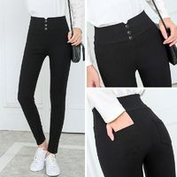 Price: $22.50 | Product: Slim Women's Casual Fall Button High Waist Pencil Pants | Visit our online store https://ladiesgents.ca