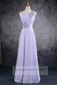 Beaded One Shoulder Lilac Long Prom Dresses