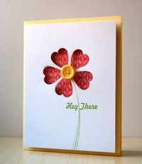 Sweet Flower Card...with cutout flower, using a heart die & button.