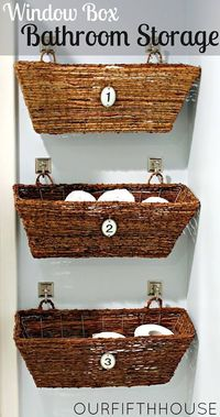 Window Box Idea for Bathroom Storage, hang this on the back of the bathroom door to make room for towel & paper space