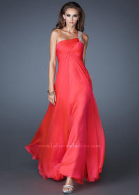Watermelon Long Ruched Bodice Jeweled One Strap Open Back Dress