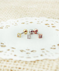 """16g Mini Square CZ Studded ear stud barbell, cartilage earring tragus helix conch piercing $8.40 Color Gold Choose an option Silver Gold Rose Gold Bar Length 1/4"""" (6mm) Choose an option 1/4"""" (6mm) 5/16"""" (8m..."""