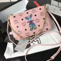 MCM Medium Millie Rabbit Visetos Zip Crossbody Bag In Light Pink
