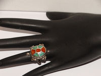 Navajo Sterling Silver Inlaid Turquoise & Coral Size 6 Ring. $56.75