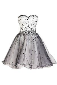 Short Tulle Black And White Prom Dress With Beading