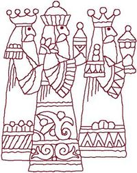 Redwork Three Wise Men. This would be beautiful for the holidays. Good thing I can d this. :-)