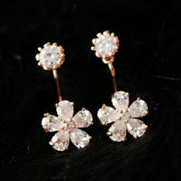 SHINY RHINESTONE FLOWER PENDANT STUD DANGLING EARRINGS JEWELRY Price:$14.99 Material: Alloy  Color: As picture