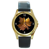 Autumn Leaf on Black Design on a Mens or Womens Gold Tone Watch with Leather Band $32.00