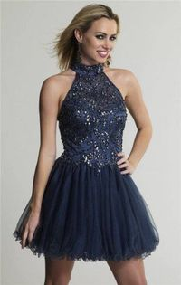 Beaded High Neck Haltered Short Homecoming Dress