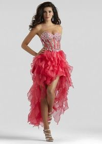 Strapless Sheer Jeweled Bodice Red Ruffled High Low Organza Dress
