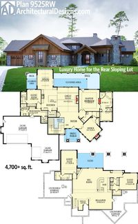 Over 4,700 sq. ft. of living in Architectural Designs Rugged Craftsman House Plan 9525RW. Ready when you are. Where do YOU want to build?