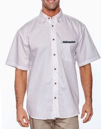 Men's Short-Sleeve Twill Shirt with Stain-Release by ALNBRANDS $35