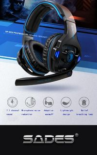 SADES SA-903 High-Performance 7.1 Channel Noise Isolation Bass Gaming Headphone with LED Micphone For PC Gamer