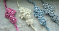 Handmade. Crochet. Five Bloom Flower. Baby Headband. Newborn Photography Prop.