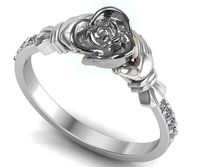 Silver Love Ring Flower Ring Promise Ring Unique Engagement Ring with Side Diamonds Floral ring Birthday Gift For Her Gift $363.30