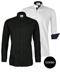 White Twill Ikkat And Black Satin Mandarin Collar Shirt Combo �'�2098.00