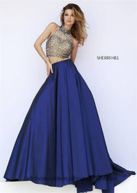 Nude Navy Sherri Hill 32110 Two Piece Beaded Ball Gowns