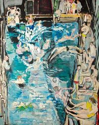 """""""Swimming Pool"""", by Thomas Roland Rathmell (Welsh, 1912-1990)."""