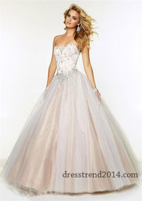 Mori Lee 97076 White Nude Lace Corset Ball Gown