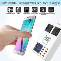 8 USB Ports Qi Wireless Fast Charger Digital LED Display Smart Quick Charge Station
