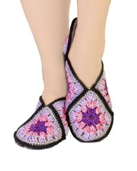 Violet adult knit slippers, as crochet wool anniversary gift for daughter, eco friendly slippers socks. Slippers size 7 8 9 $35.00