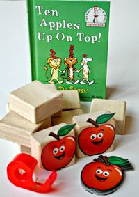 Counting and stacking activity to use with the Dr. Seuss book Ten Apples Up On Top! Great math and fine motor practice! Perfect for preschool Dr. Seuss theme or unit..