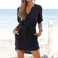 DeRuiLaDy 2018 Women Sexy V Neck Three Quarter Sleeve Loose Shirt Dress Ladies Casual Summer Beach Mini Chiffon Dresses Vestido $27.74