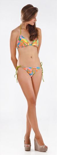 Thaikila Kawai Reversible Triangle Top and Side Tie Brazilian Bottom Bikini Swimwear Set $51.95
