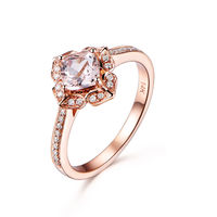 6MM CUSHION CUT MORGANITE AND DIAMOND ENGAGEMENT RING 14K ROSE GOLD ART DECO ANTIQUE FLORAL STACKING BAND