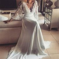 Charming Chiffon Lace Bohemian Wedding Dresses 2016 A Line Plunging V Neck Long Sleeves Vintage Boho Greek Style Beach Country Wedding Gown Shopping Online For Dresses Simple Gowns From In marry, $150.86| Dhgate.Com