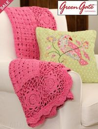 Pink crocheted blanket and I love that beautiful bird pillow too!