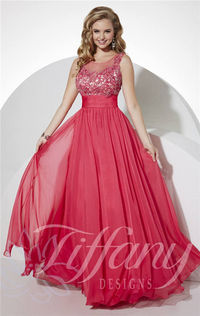 Long Cherry Beaded Lace Prom Gown by Tiffany 16110 Designs