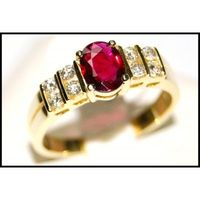 Diamond Wedding 18K Yellow Gold Solitaire Ruby Ring [RS0075]